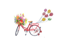 Red Bicycle With Flower And Ba...
