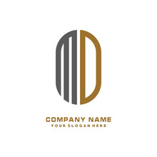 MD Minimalist Letters, With Gray And Gold, White, Black Background Logos