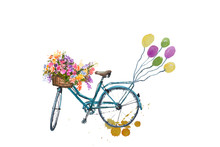 Blue Bicycle With Flower And B...