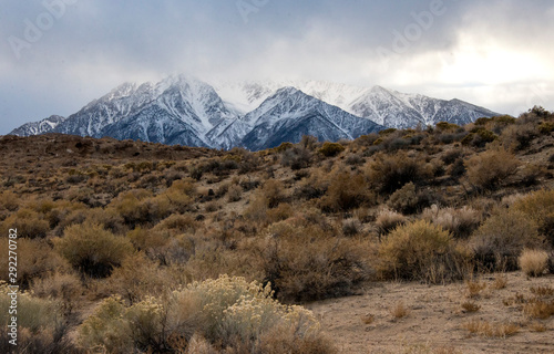 landscape with snow mountain and dry desert in California