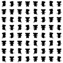 Mouse Silhouettes. Vector Seamless Pattern With Animals. Simple Black And White Illustration. Repetitive Baby Background. Textile Paint. Fabric Swatch. Wrapping Paper. Continuous Print