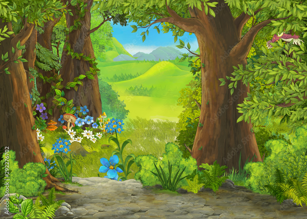 Fototapeta cartoon summer scene with meadow in the forest illustration for children