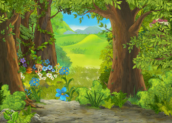 cartoon summer scene with m...