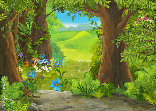 cartoon summer scene with meadow in the forest illustration for children