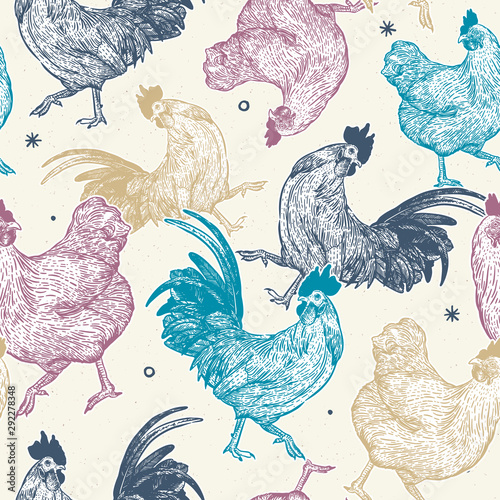 Photo chicken collection seamless pattern, hand draw sketch vector.