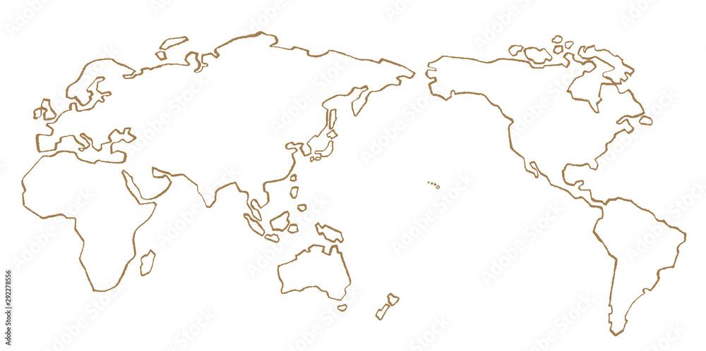 Fototapety, obrazy: 世界地図 手描き 線画 ベクター