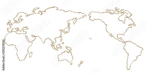 世界地図 手描き 線画 ベクター