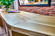 canvas print picture - Wooden live edge table in solid oak. Solid oak countertop. Live edge counter top. Details furniture