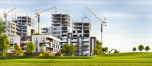 Scenic View Of Modern Architecture And The Construction Of Apartment Buildings