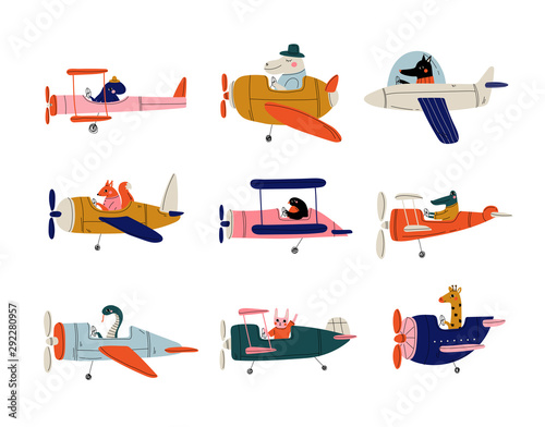 Collection of Cute Animals Pilots Flying on Retro Planes in the Sky, Octopus, Bi Fotobehang