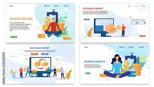 Fototapety, obrazy: Online Financial Services Landing Page Flat Set