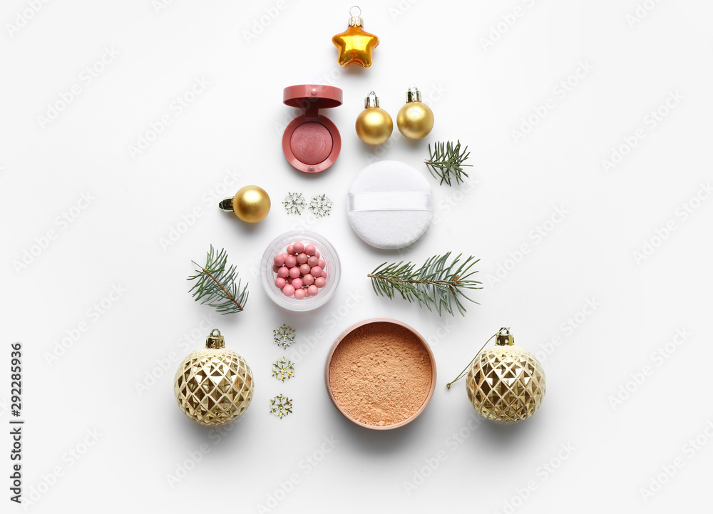 Fototapety, obrazy: Christmas composition with decorative cosmetics on white background