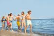 Friends running on sea beach