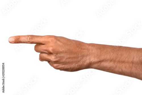Cuadros en Lienzo  Male hand pointing at something on white background
