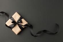 Craft Gift Box On A Dark Backg...