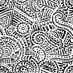 Seamless black and white geometric pattern. Hand drawn ink ornament. Vintage print for textiles. Vector illustration.
