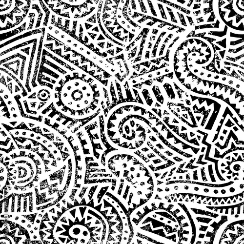 Türaufkleber Künstlich Seamless black and white geometric pattern. Hand drawn ink ornament. Vintage print for textiles. Vector illustration.