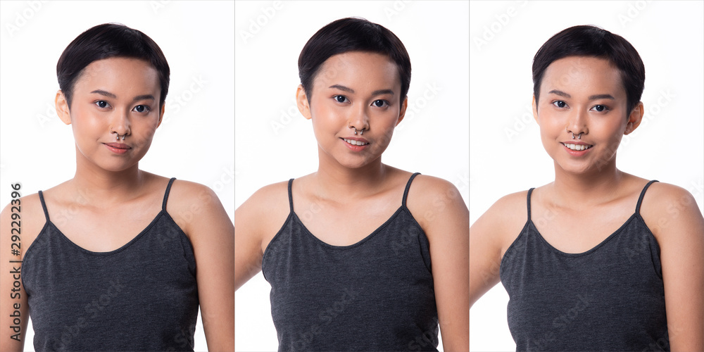 Fototapeta Fashion Young tanned skin Asian Woman short fringe hair wear Gray vast short jean and high platform shoes. Studio Lighting white Background isolated, collage group pack portrait Face emotion feeling