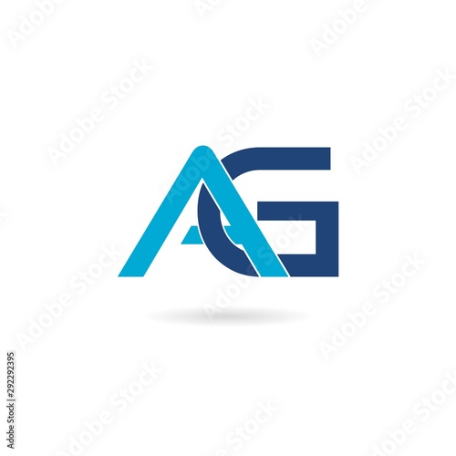 AG Initial Letter Logo Design Element isolated on white background Wallpaper Mural