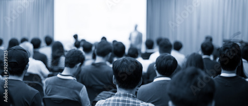 Conference photo audience and tech speaker giving speech Wallpaper Mural