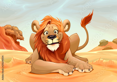 Poster Chambre d enfant Happy Lion in the savannah