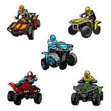 Five Full-color Quad Bikes From Different Angles, Isolated Background.