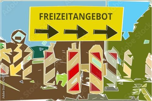 Freizeitangebot - Konzept Wegweiser Gelbes Schild 14, Pfeile nach rechts Tapéta, Fotótapéta