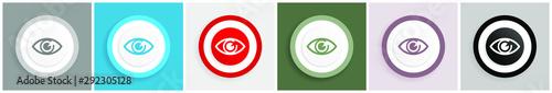 Fotomural Eye icon set, colorful flat design vector illustrations in 6 options for web des