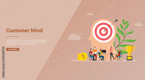 Photo  customer mind with big head and goals target minds for website template or banne