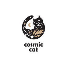 Sleeping Cat Silhouette Logo Design. Logotype Concept Icon.