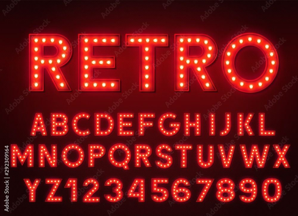 Fototapety, obrazy: 3d light bulb red alphabet with numbers on a dark background. Retro glowing font.