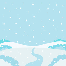 Winter Nature, Landscape. Field, Snowy White Hills, Snowdrifts, Sky With Snowflakes, Meadow. Vector Illustration
