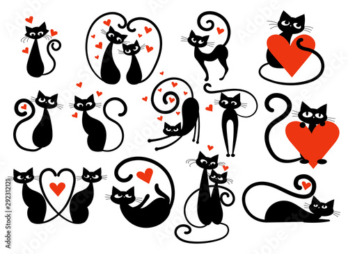 Set of black cats with hearts Poster Mural XXL