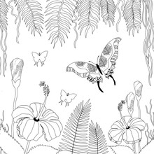 Zenart Coloring Book Rosa Hibiscus, Palm And Butterfly