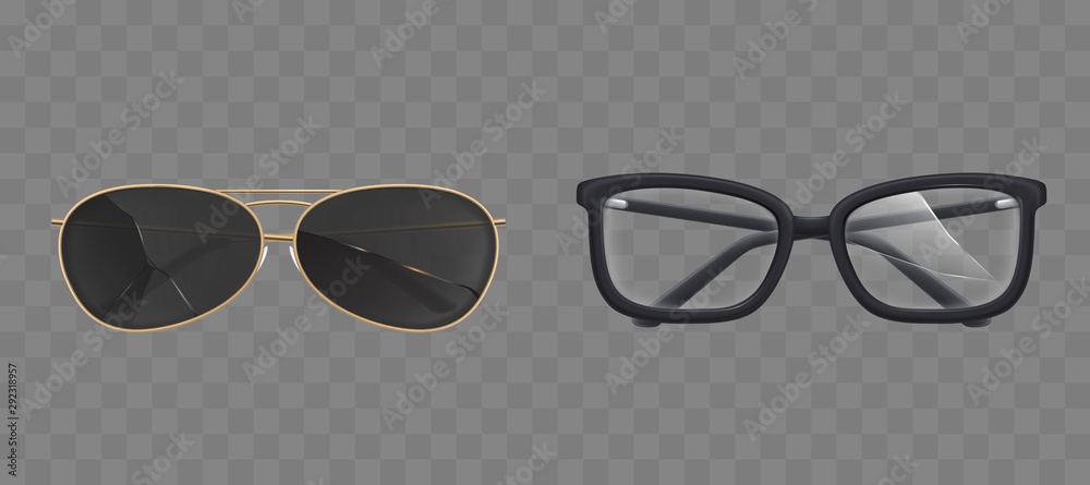 Fototapeta Broken eyeglasses and sunglasses set. Old fashioned spectacles with plastic rectangular frames and modern black sun goggles with damaged cracked lenses front view. Realistic 3d vector illustration