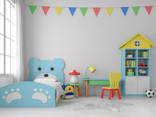 Colorful Kid Bedroom 3d Render...