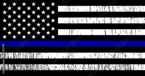 Fotografía  American flag with police support symbol, Thin Blue Line