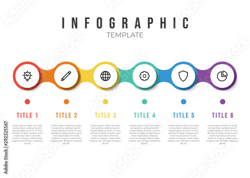 Obraz infographic list template element with horizontally 6 points and icons - fototapety do salonu