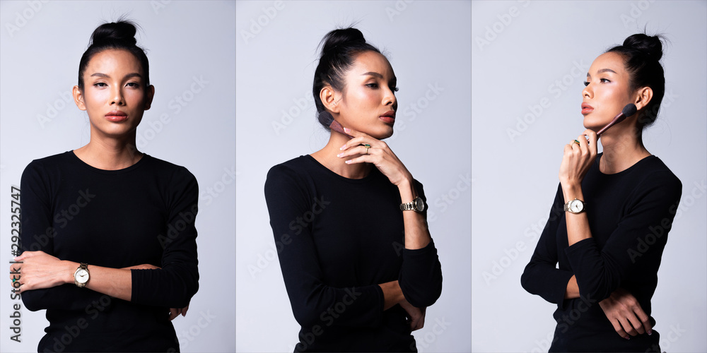 Fototapety, obrazy: Fashion Young Asian Transgender Woman Thin black hair beautiful make up fashion black long sleeve dress posing, hold brush as make up artist. Studio Lighting white Background, collage group pack