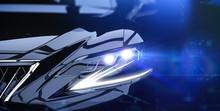 Modern Car Headlight Close-up Scene (3D Illustration)