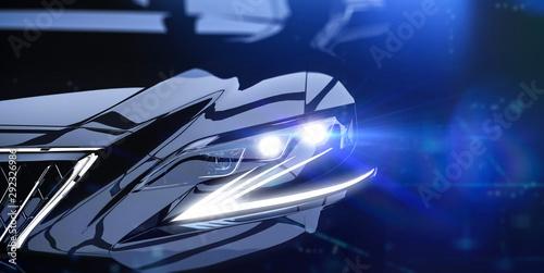Obraz Modern car headlight close-up scene (3D Illustration) - fototapety do salonu