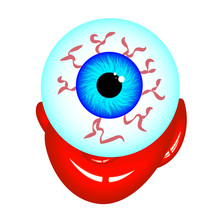 Isolated Zombie Eye With Blood, Vector Art Illustration.