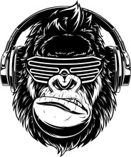 Ferocious Gorilla In Headphones