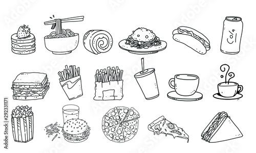 Fototapeta set of food and drink vector illustration. fast food detail lineart illustration on isolated background obraz