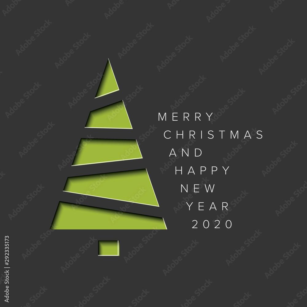 Fototapeta Minimalistic Christmas card with christmas tree