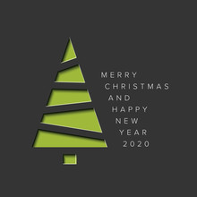 Minimalistic Christmas Card With Christmas Tree