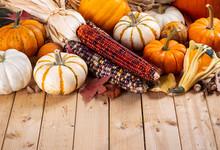 Assortment Of Fall Pumpkins And Indian Corn