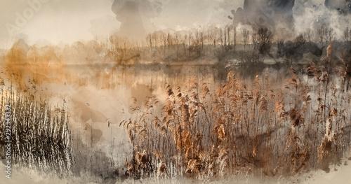 Fototapeta Digital watercolor painting of Landscape of lake in mist with sun glow at sunris
