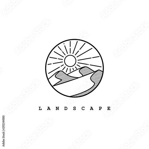 Cuadros en Lienzo Desert logo design template