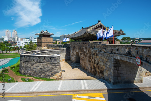Fortress in Suwon, Hwaseong Fortress is the wall surrounding the center of Suwon seoul,South Korea Wallpaper Mural
